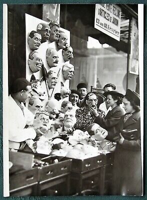 French Politicians Mardi Gras Masks for sale orig 1939 French press - Mardi Gra Masks For Sale