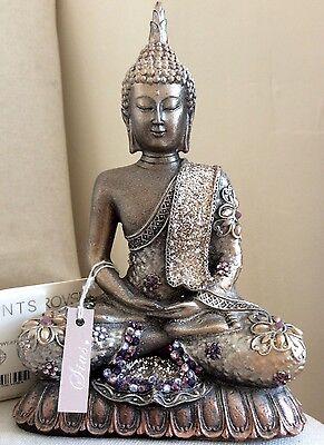 Unique Meditation Buddhas Statue. Adorned In AMETHYST  Swarovski Elements