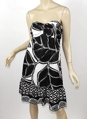 WHITE HOUSE BLACK MARKET Leaf & Abstract Border Print Strapless Silk Dress S 4 Silk Border Print Dress
