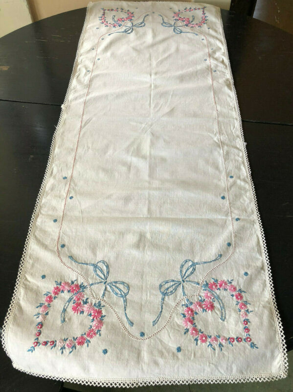 Vintage Runner Cotton Embroidered Pink Blue Flowers Hearts 16x42