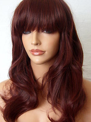 New Full Women Fashion Hair Wig Long Wavy Fringe Red Brown Lady Wig F-18