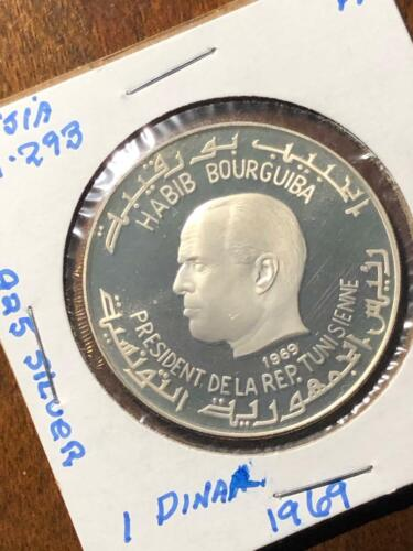 1969 TUNISIA STERLING SILVER DINAR PROOF LARGE COIN, KM-293