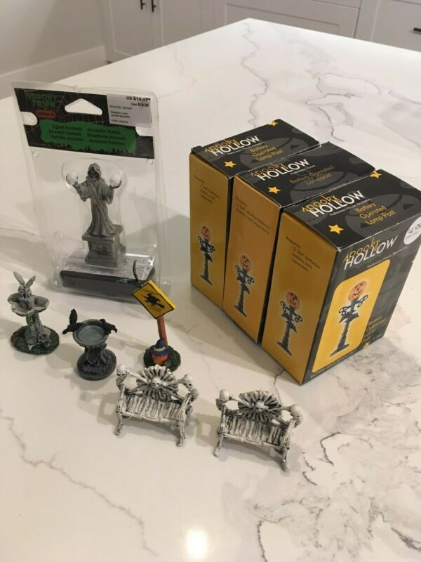 Lemax Halloween miniatures - 3x spooky hollow lamp post, skeleton lamp, & more
