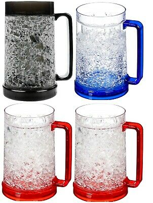 16 Oz Beer Mugs (4 Double Wall Freezer Frosty Mugs 16 oz Cold Beer Stein Chilled Frozen Drink)