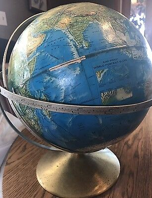 VINTAGE RAND MCNALLY WORLD PORTRAIT WORLD GLOBE mid century