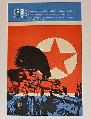 1968 Original Cuban Poster Cold War North Korea Kim Il Sung Art Corea Flag