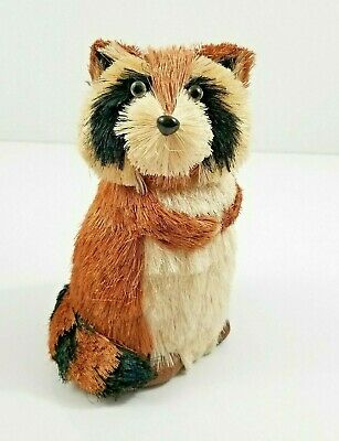 Autumn Sisal Raccoon Brown Glitter Natural Animal Forest Decor Wreath Table 8.5""