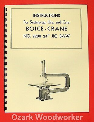 Boice Crane 2200 24 Jigscroll Saw Instructions Part Manual 0066