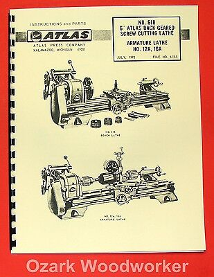 "ATLAS/CRAFTSMAN 6"" Metal Lathe NO. 618 Instructions & Parts Manual 0051"