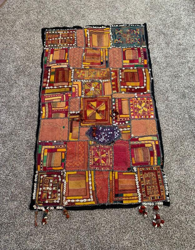"Banjara textile Kutchi ? wall hanging embroidery quilt antique gypsy boho 66"""