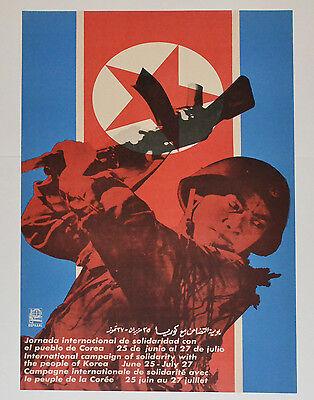 1968 Original Cuba Political Poster Cold War Graphic Art North Korea Propaganda