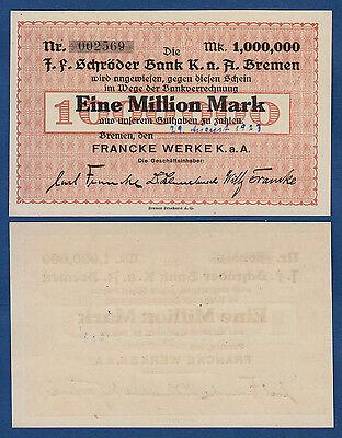 BREMEN Francke Werke 1 Million 1923 KASSENFRISCH / UNC