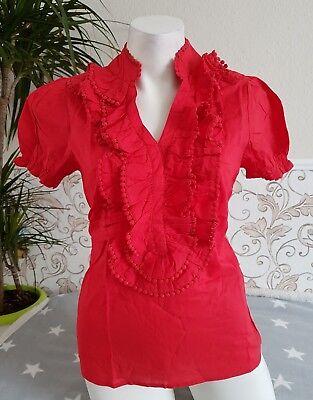 Ärmel Rüschen Bluse (Aniston Bluse mit Rüschen Volant Puffärmel Baumwolle Hemd Shirt Rot S M 34-38)