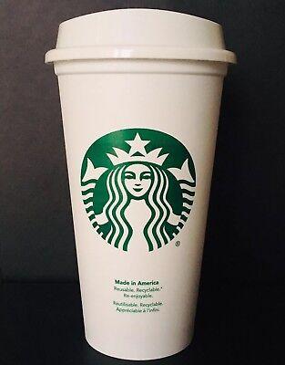 Starbucks Reusable Plastic Coffee Cup White Grande 16oz Coffee Tea Hot Beverage 16 Oz White Plastic Cups