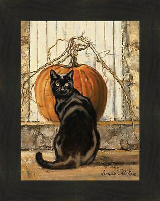 BLACK CAT by Bonnie Mohr 16x20 Cat Autumn Fall Halloween Pumpkin Framed Art
