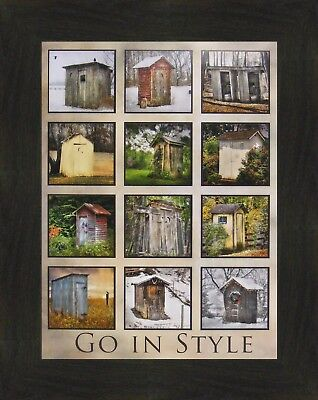 GO IN STYLE by Lori Deiter 16x20 Outhouse Collage Bathroom FRAMED WALL ART