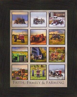 FAITH, FAMILY & FARMING Lori Deiter 16x20 Tractor Collage Farm FRAMED WALL ART