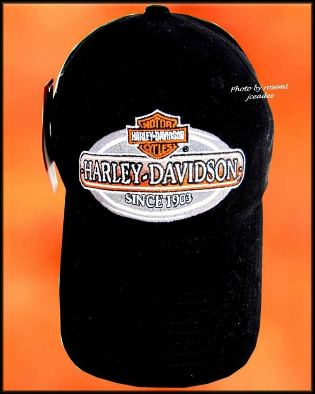 HARLEY-DAVIDSON Motor Cycles 1903 Black Adjustable BASEBALL CAP Hat Embroidered