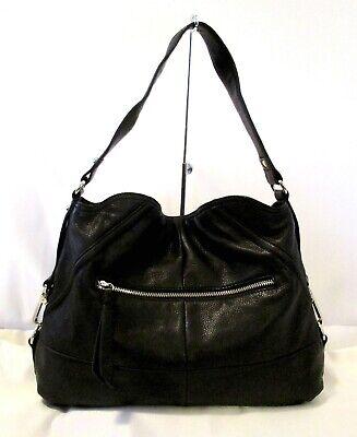 GORGEOUS B. MAKOWSKY BLACK LEATHER FOLD OVER HOBO STYLESHOULDER BAG HANDBAG Fold Black Leather
