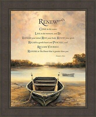 RENEW by Bonnie Mohr FRAMED ART PICTURE 28x34 Inspirational Quote Row Boat Lake
