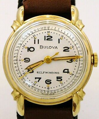 EXCELLENT FANCY VINTAGE 1951 BULOVA SELFWINDING MILITARY 24hr DIAL WATCH SERVICE