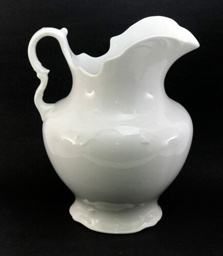 "Large 12"" Antique Knowles Taylor KT&K Ironstone Water Pitcher White Victorian"