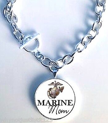 Marine Mom Charm Necklace Pick Your Size!