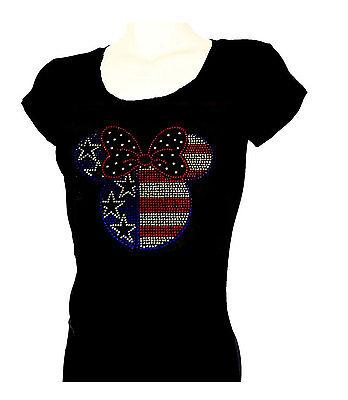 Women's  T-shirts rhinestones Iron on 4th of July USA Cute Minne Small to 3xl  (Cute Fourth Of July Shirts)
