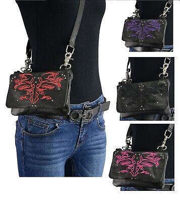 Ladies Leather BELT Bag Concealed Carry Purse Clip On Motorcycle Biker Zipper Bike Handbag Bag Purse