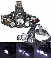Torcia Lampada Frontale Led Ricaricabile 3 Led 5000 Lumen Cree T6 R5 Rj3000 Off -  - ebay.it