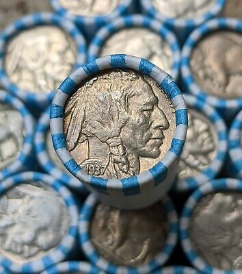 $1 Buffalo Nickel Coin Roll - FULL DATE - Vintage PDS Old US Coin Lot
