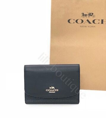 NWT New Coach F58565 Flap Medium Wallet Snap Tri-Fold Pebble Leather Black $150 ()