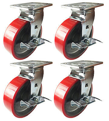 6 X 2 Polyurethane On Cast Iron Red - 4 Swivels With Brake