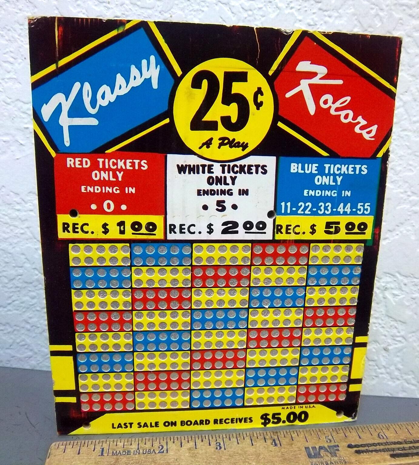 Photo Klassy Kolors Vintage Punch Board Trade Stimulator Punchboard Gambling Game, NEW
