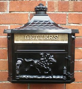 ANTIQUE CAST ALUMINIUM POST BOX WALL MOUNTED VICTORIAN LETTERBOX MAIL BOX BLACK