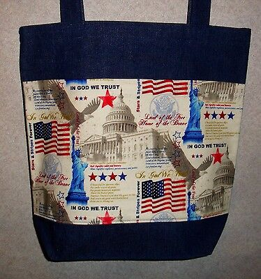 New Handmade Large Patriotic Capital Monuments 2 Flag Denim Tote Bag
