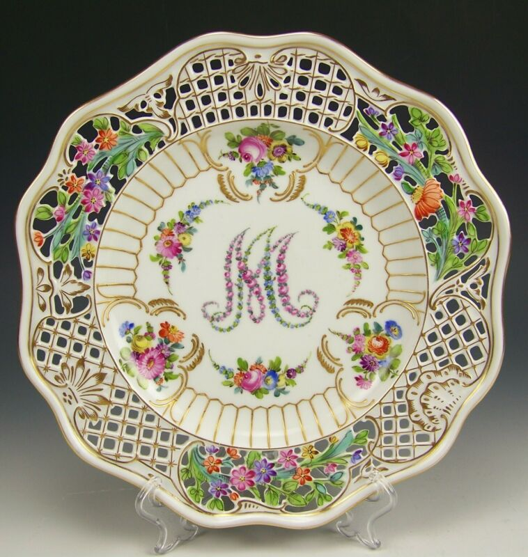 "CARL THIEME DRESDEN MARIE ANTOINETTE RETICULATED HAND PAINTED GOLD 9.5"" PLATE B"