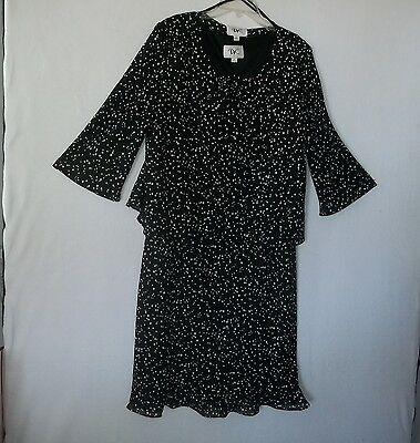 Nice Black White Dot Georgette Two-Piece Dress Jacket Combo Size 12 DR - Georgette Two Piece