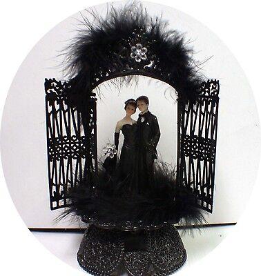 Halloween Wedding Cake Toppers Designs (Sexy Black Gown Groom Wedding Cake Toppers Halloween Cutom design)