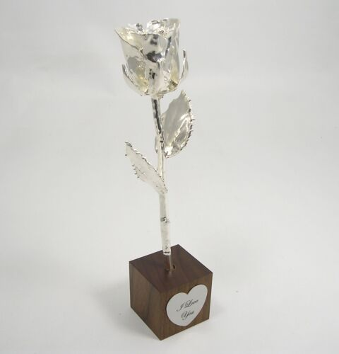 """8"""" Silver All Dipped Rose In """"I Love You"""" Stand (Free Christmas Gift Box)"""