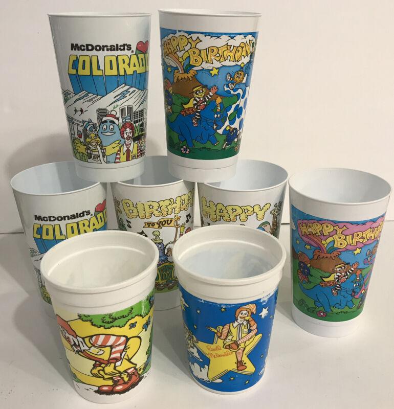 McDonalds Vintage Plastic Cups Set of 8
