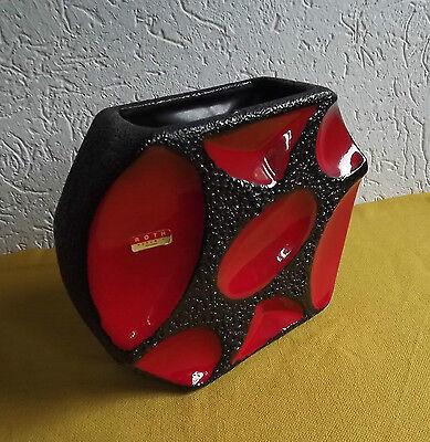 70er Jahre Fat Lava Roth  Ebernhahn Keramik Vase W. Germany 310 Rarität Rot
