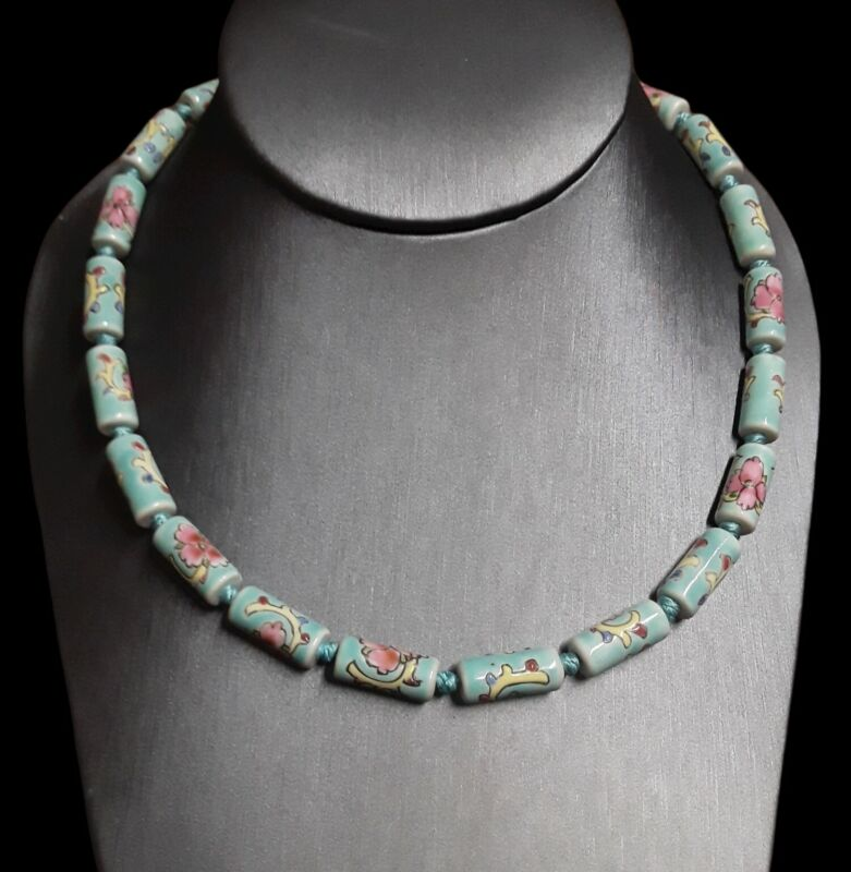 Antique Chinese Teal Blue Porcelain Bead Necklace Hand Painted Hand Knotted