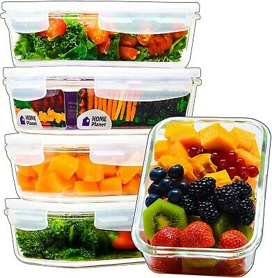 Glass Meal Prep Containers | Food Containers Glass | 5 Pack