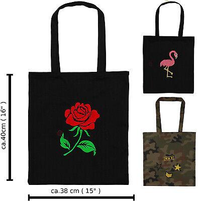 Baumwolle Gestickte Tasche (Eco Tasche 40cm/38cm Einkauftasche Dekotasche gestickten Baumwolle Deko Shopping)