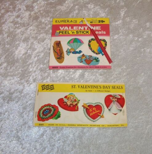 VTG Eureka VALENTINES DAY Seals Stickers # 85822 & 5501 Partial Booklets 76 PC