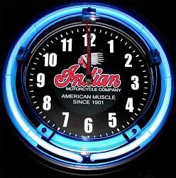NDIAN MOTORCYCLES LOGO - 11 Blue Neon Wall Clock
