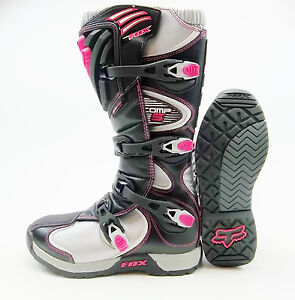 womens fox racing comp 5 mx offroad atv boots black pink