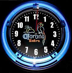 CORONA EXTRA LOGO - 11 Blue Neon Wall Clock