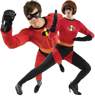 Super Hero Couples Costumes (Couples Mens And Ladies Mr And Mrs Incredible Hero Fancy Dress Costumes)